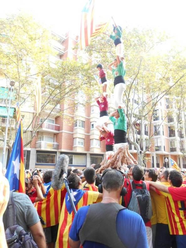 Castellers del Riberal i Pallagos del Conflent han aixecat pilars de 4
